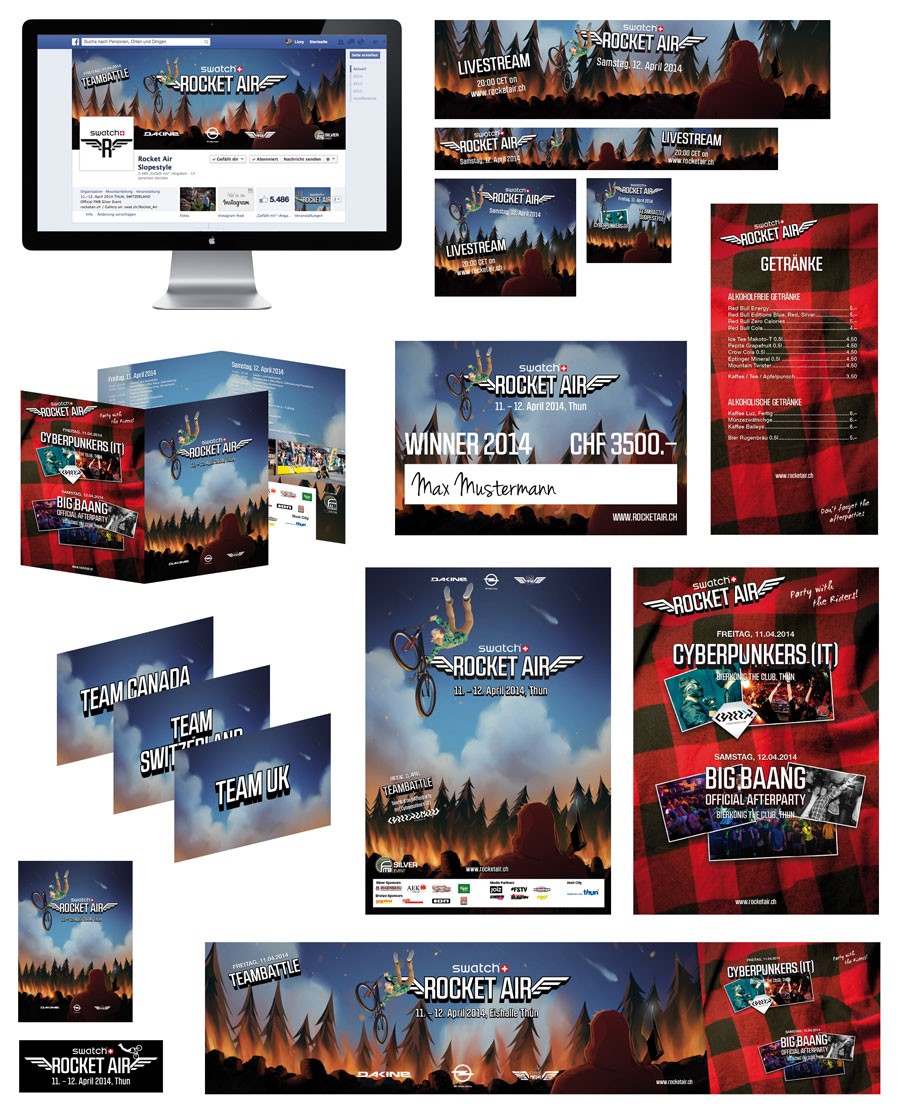 Overview for the different Deliverables for the 2014-Edition of the Event: Facebook-Page, Onlinebanner, Flyer A6 with Schedule, Poster Event & Afterparties, Drinks Menu, PVC-Banner, Stickers